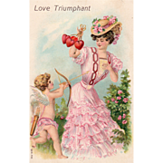 SOLD Cupid Shooting Arrow at Lady in Pink with Red Hearts Vintage Valentine Card