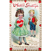 Little Boy and Girl Ready to Swap Red Hearts Vintage Valentine Card