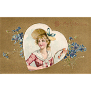 Young Woman in a Straw Hat Blue Ribbon and Blue Flowers Vintage Valentine Card