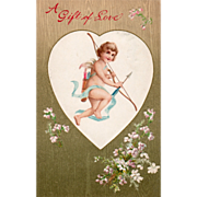 Cupid with Bow and Arrows in a White Heart Vintage Valentine Card