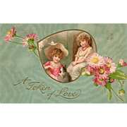 Two Young Girls with a Cat and Pink Flowers Vintage Valentine Card