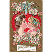 Woman Kissing Cupid Old Fashioned Pink Roses Vintage Valentine Card