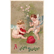 Two Cupids Sewing Up Broken Red Hearts Vintage Valentine Card