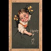 SOLD Little Girl Bursting through Slate to Write in Chalk Vintage Valentine Postcard