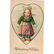 SOLD Little Dutch Girl in Heart with Wall Tiles Vintage Valentine Postcard