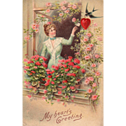 SOLD Lady at Window with Bird and Pink and Red Roses Vintage Valentine Postcard