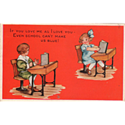 SOLD Whitney Boy and Girl with Books at School Desks Vintage Valentine Postcard