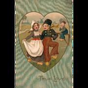 SOLD Little Dutch Couple Dancing in a Heart Vintage Valentine Postcard