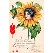 Sunflower with the Head of a Lady and Red Hearts Vintage Valentine Postcard