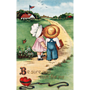 SOLD Whitney Boy and Girl Holding Hands Walking to School Vintage Valentine Postcard