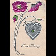Pink Roses Silver Heart with Four Leaf Clover Vintage Valentine Postcard