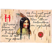 SOLD Native American Brave and Couple Red Heart Vintage Valentine Postcard - Red Tag Sale Item