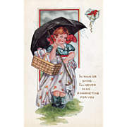 SOLD Whitney Little Girl with a Basket of Gifts Umbrella Vintage Valentine Postcard
