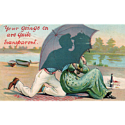 SOLD Couple on a Beach Silhouetted against an Umbrella Vintage Valentine Postcard