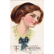 SOLD Young Woman in a Yellow Collar with Blue Bow Vintage Valentine Postcard - Red Tag Sale It