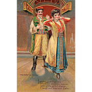 SOLD Couple in a Scene from the Merry Widow Operetta Vintage Valentine Postcard - Red Tag Sale