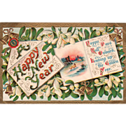 Mistletoe and a Note with a Sunset Scene Vintage New Year Postcard