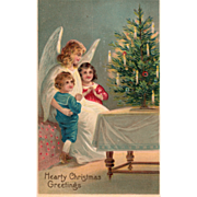 Angel in White with Two Children and Christmas Tree Vintage Christmas Postcard