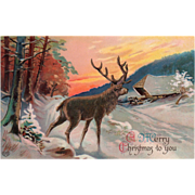 SOLD Sunset Scene with Elk in the Snow near a House Vintage Christmas Postcard