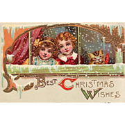 SOLD Children with a Kitten at a Window Watching the Snow Vintage Christmas Postcard - Red Tag
