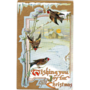 Birds on Thistles Winter Country Church Scene Vintage Christmas Postcard