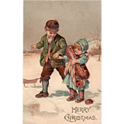 SOLD Little Boy Helping Girl Carrying Baked Goods in Snow Vintage Christmas Postcard - Red Tag