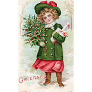 Silk Little Girl with Presents and a Bundle of Holly Vintage Christmas Postcard