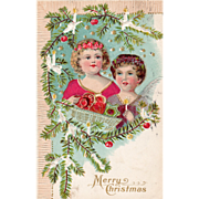 Little Angels Trimming an Outdoor Christmas Tree Vintage Christmas Postcard