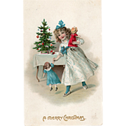 SOLD Little Girl with Her New Dolls and Christmas Tree Vintage Christmas Postcard