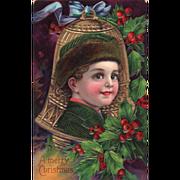 Boy with a Brown Fur Hat Framed in a Golden Bell Vintage Christmas Postcard