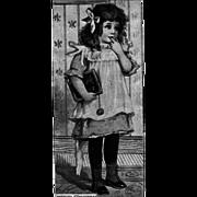Little Girl Holding a School Slate Wearing Pinafore Vintage Christmas Postcard