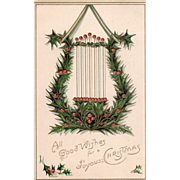 SOLD Green Lyre Decorated with Holly and Holly Berries Vintage Christmas Postcard - Red Tag Sa