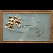 Blue Silk Blue Ribbon Gold Bells Metal Insert Vintage Christmas Postcard