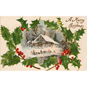 Silk Winter Scene of Large House Sprigs of Holly Vintage Christmas Postcard