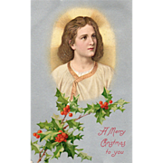 Jesus as a Young Boy Sprigs of Holly Vintage Christmas Postcard