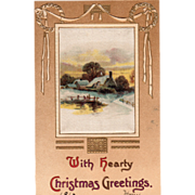 Silk Panel with a Winter Scene Wreaths White Ribbon Vintage Christmas Postcard