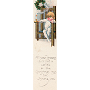 Little Child Asleep in a Chair Candlestick Wreath Vintage Christmas Bookmark