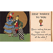 Couple In Fancy Odd Dress Candlestick Vintage Christmas Card