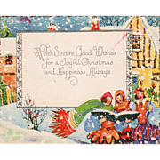 Three Young Men Caroling in a Town Vintage Christmas Card