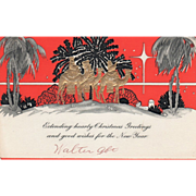 Wise Men Following the Star Palm Trees Vintage Christmas Card