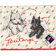 Black and White Dogs Escaping Holly Patterned Paper Vintage Christmas Card