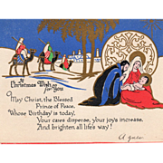 Wise Men on Camels The Holy Family Vintage Christmas Card