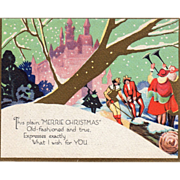 Men Pulling Yule Log to Castle Men Playing Trumpets Vintage Christmas Card