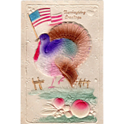 Turkey Gobbler Waving a United States Flag Vintage Thanksgiving Postcard