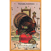 Artist Signed C Beecher Turkey Gobbler on Throne Vintage Thanksgiving Postcard