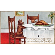 Dog Saying Grace at Table over Thanksgiving Feast Vintage Thanksgiving Postcard