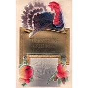 Turkey Gobbler on a Sign with Harvest Bounty Vintage Thanksgiving Postcard