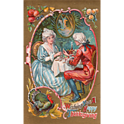 Colonial Couple Sharing the Turkey Wishbone Table Vintage Thanksgiving Postcard