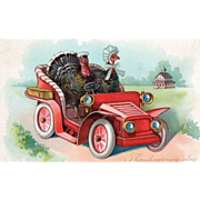 Tuck Turkey Gobbler and Hen Driving Early Auto Vintage Thanksgiving Postcard