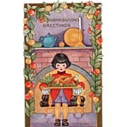 Whitney Little Boy with Turkey on a Tray Vintage Thanksgiving Postcard